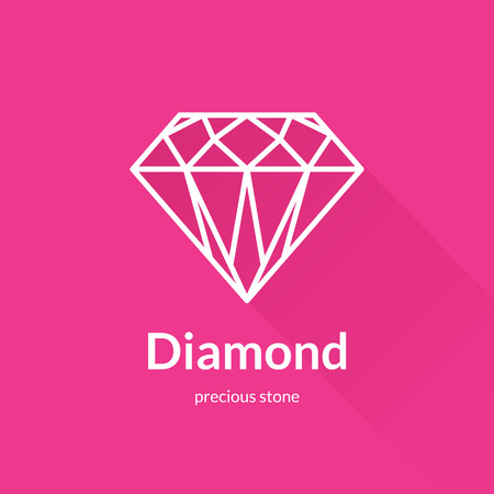 diamond shape: Faceted diamond shape icon element. Trendy flat design. Geometric vector thin line icon with long shadow