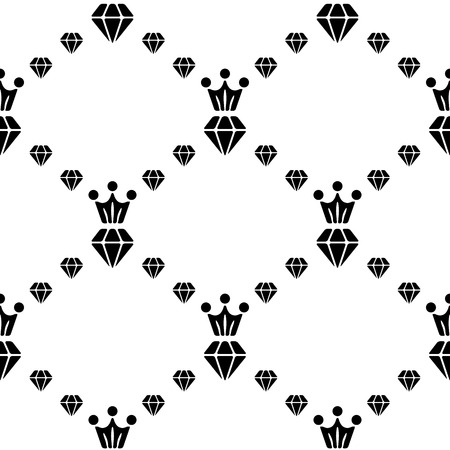 faceting: White and black seamless pattern with diamonds and crown. Repeating luxury background. Vector design