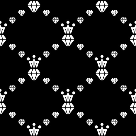 White and black seamless pattern with diamonds and crown. Repeating luxury background. Vector design Vector