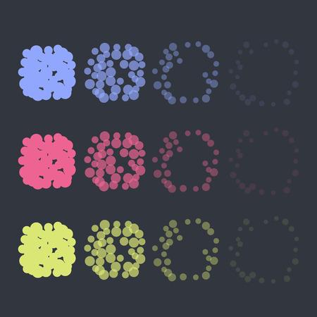 애니메이션 폭발 효과를 설정합니다. 라운드 공중 폭발. 벡터 디자인. 다시 칠하기 쉬운 일러스트