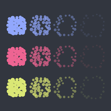 Animation explosion effects set. Round airburst. Vector design. Easy to recolor