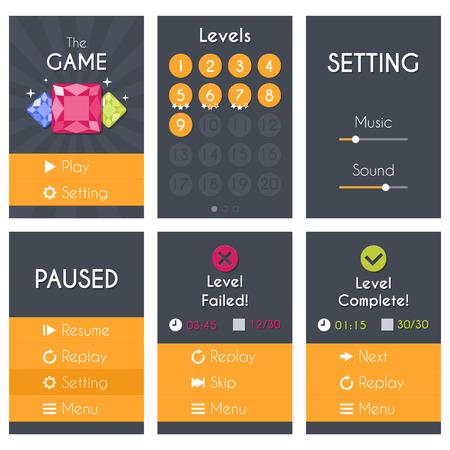 gem: Flat Mobile Game Screens Set. Vector design