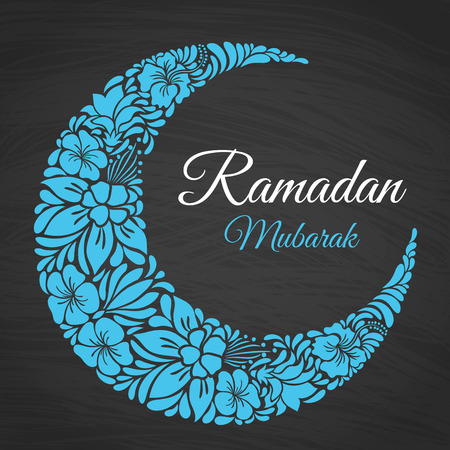 Ramadan Mubarak islamic greeting background with floral crescent moon. Vector design