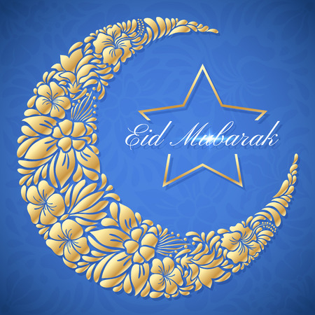 crescent: Eid Mubarak islamic festive background with floral crescent moon and star. Vector design