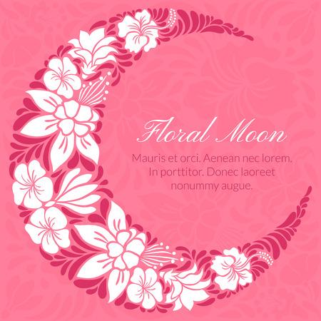 moon light: Floral design decorated crescent moon. Light vector illustration Illustration