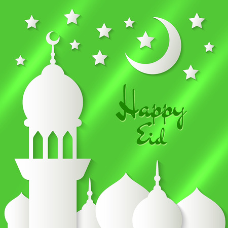 applique: Applique with paper mosque, stars and crescent. Vector islamic background with lettering Happy Eid