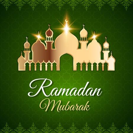 Ramadan Mubarak Greeting Card with golden mosque. Dark green vector islamic background
