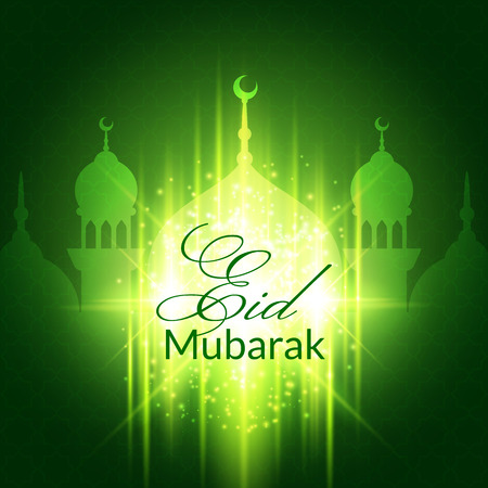 spiritual background: Eid Mubarak Greeting Card with mosque and lights. Vector festive islamic background