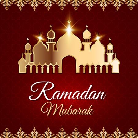 Ramadan Mubarak Greeting Card with golden mosque. Dark red vector islamic background Illustration