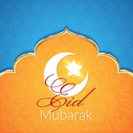 Eid Mubarak Greeting Card with traditional pattern and crescent, star. Vector islamic background