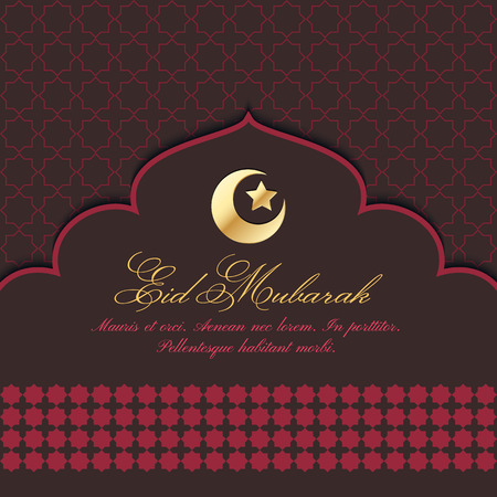 Eid Mubarak Greeting Card with traditional pattern and crescent, star. Vector islamic background Illustration