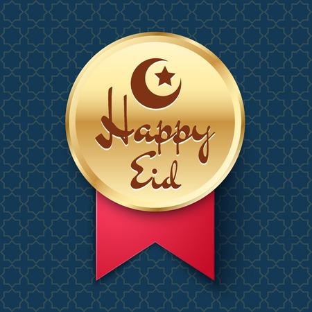 star and crescent: Insignia de oro con media luna, estrellas y letras Feliz Eid. Vector icono para la decoraci�n festiva de la p�gina web