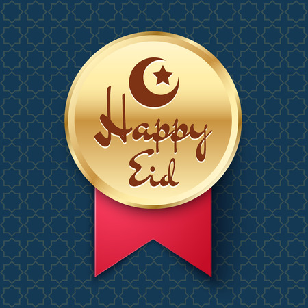 Golden Badge with crescent, star and lettering Happy Eid. Vector icon for festive decoration of website Illustration