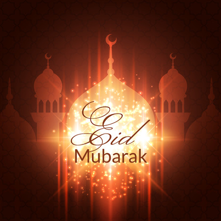 mubarak: Eid Mubarak Greeting Card with mosque and lights. Vector festive islamic background