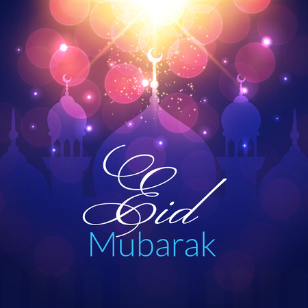 Eid Mubarak Greeting Card with mosque and lights. Vector festive islamic background