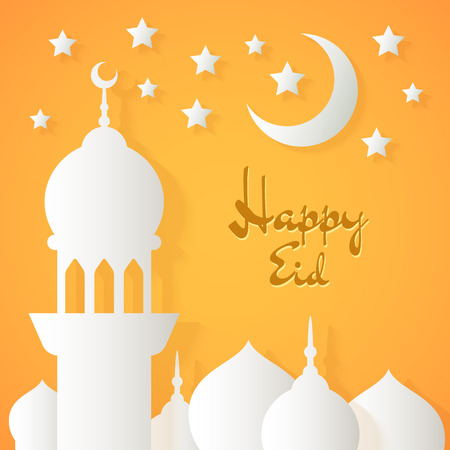 eid mubarak: Applique with paper mosque, stars and crescent. Vector islamic background with lettering Happy Eid