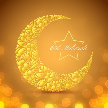 Eid Mubarak islamic festive background with floral crescent moon, lights and bokeh. Vector design Illustration