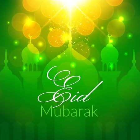 Eid Mubarak Greeting Card with mosque and lights. Vector festive islamic background Stock Vector - 40213505