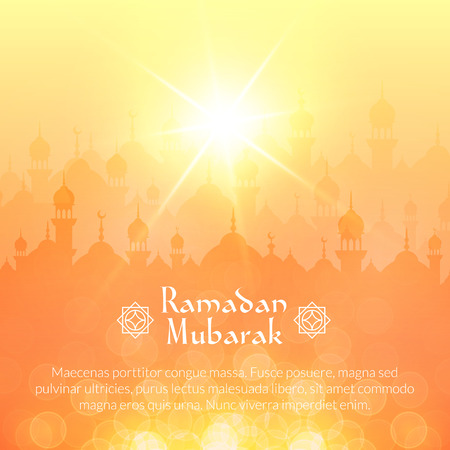 Summer sunset landscape wallpaper with mosques and shining sun. Vector background for holy month of muslim community Ramadan Kareem celebration