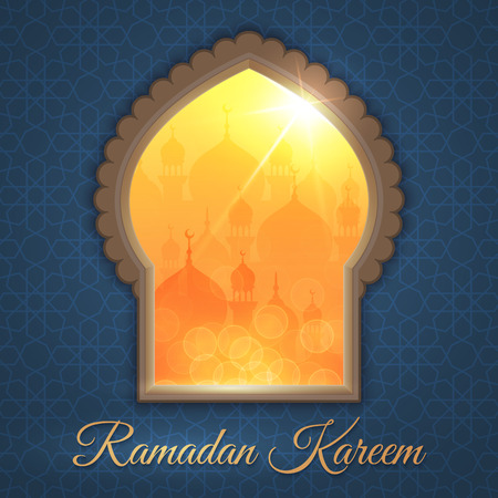 Greeting card with daytime landscape with mosques and shining sun in a window. Background is decorated with arabic pattern. For holy month of muslim community Ramadan Kareem celebration