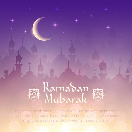 Nachtlandschap behang met moskeeën en verlichting, maan, sterren. Vector achtergrond voor heilige maand van de islamitische gemeenschap Ramadan Kareem viering Vector Illustratie