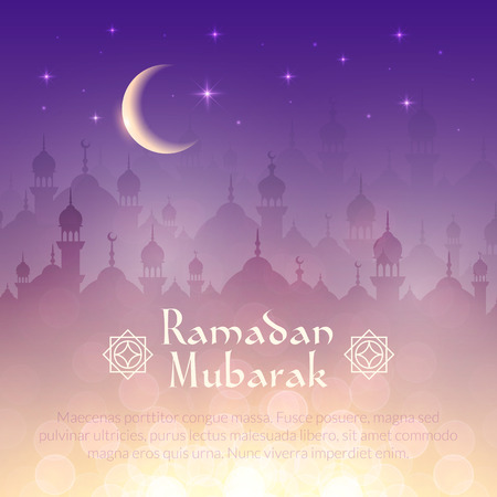 arabian: Night landscape wallpaper with mosques and lights, moon, stars. Vector background for holy month of muslim community Ramadan Kareem celebration