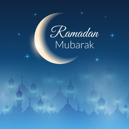 moon and stars: Night landscape wallpaper with mosques and lights, moon, stars. Vector background for holy month of muslim community Ramadan Kareem celebration