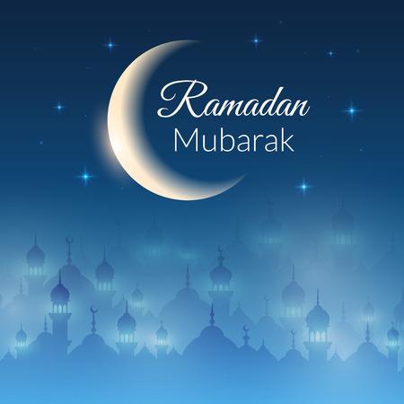 noche y luna: Noche fondo de pantalla del paisaje con las mezquitas y las luces, la luna, las estrellas. Vector de fondo para el mes sagrado del Ramadán Kareem comunidad musulmana celebración