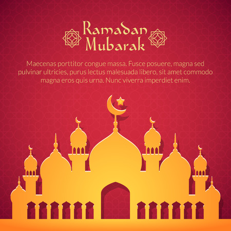Greeting card with mosque for holy month of muslim community Ramadan Kareem celebration Illustration