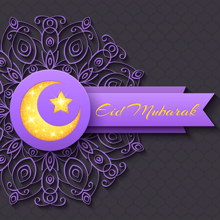 Colorful Greeting Card Eid Mubarak with round decorative pattern and shining star and moon for holy month of muslim community