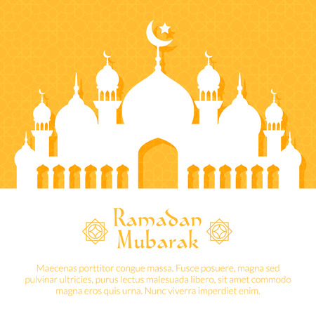 Greeting card with mosque for holy month of muslim community Ramadan Kareem celebration