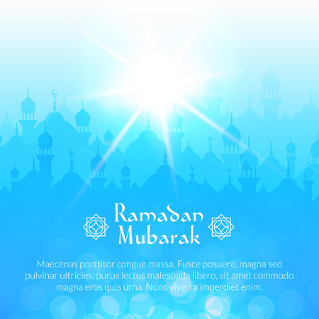 islamic art: Light morning landscape wallpaper with mosques and shining sun. Vector background for holy month of muslim community Ramadan Kareem celebration