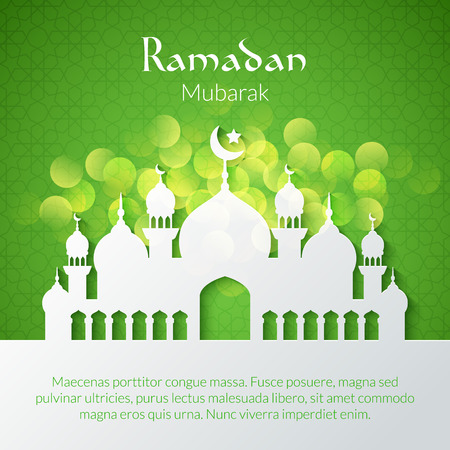 Greeting card with mosque for holy month of muslim community Ramadan Kareem celebration Vectores