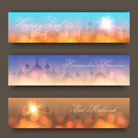 Blurred night, evening and morning background with mosques and lights for website headers or banners for holy month of muslim community Ramadan Kareem celebration