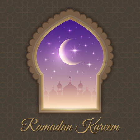 Greeting card with night landscape with mosques, shining stars and moon in a window. Background is decorated with arabic pattern. For holy month of muslim community Ramadan Kareem celebration