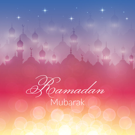 mubarak: Night landscape wallpaper with mosques and lights, stars. Vector background for holy month of muslim community Ramadan Kareem celebration Illustration