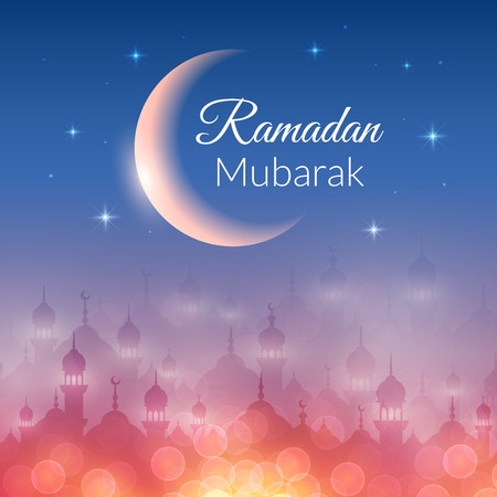 kareem: Night landscape wallpaper with mosques and lights, moon, stars. Vector background for holy month of muslim community Ramadan Kareem celebration