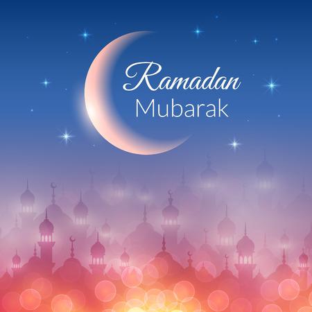 Noche fondo de pantalla del paisaje con las mezquitas y las luces, la luna, las estrellas. Vector de fondo para el mes sagrado del Ramadán Kareem comunidad musulmana celebración Foto de archivo - 41837331