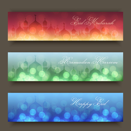 Blurred night and evening background with mosques and lights for website headers or banners for holy month of muslim community Ramadan Kareem celebration