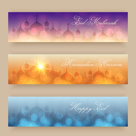 header background: Blurred night and evening background with mosques and lights for website headers or banners for holy month of muslim community Ramadan Kareem celebration