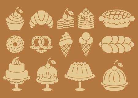Zoete gebakken voedsel silhouetten. Cakes, cupcakes, croissants, pannenkoeken, taart, donut, ijs, pretzel. vector elementen
