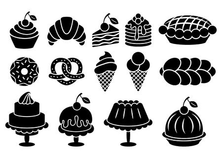 cupcakes isolated: Sweet baked food silhouettes set. Cakes, cupcakes, croissant, pancakes, pie, donut, ice cream, pretzel. Vector elements isolated on white background
