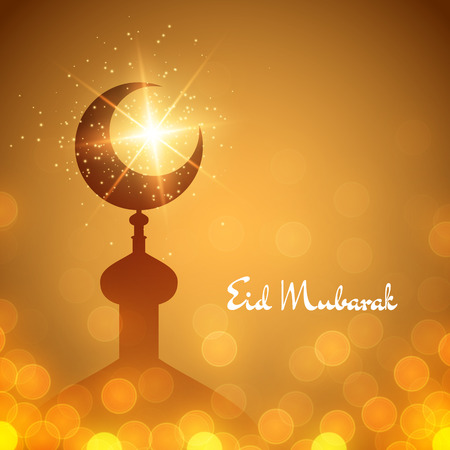 Vector islamic background with mosque and lettering Eid Mubarak. Illustration with lights and bokeh Vectores