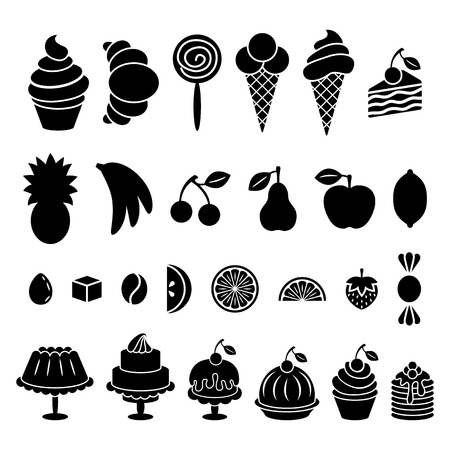 Sweet baked food and fruit silhouettes set. Cakes, cupcakes, croissant, pancakes, pie, donut, ice cream, pretzel and apple, cherry, lemon, strawberry, banana, pineapple, pear, and also candies. Vector elements isolated on white background Illustration