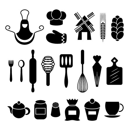 teakettle: Baking kitchen tools silhouettes set. Apron, gauntlet, spoon, flour, rolling, whisk, pot, teakettle. Vector symbols collection isolated on white background