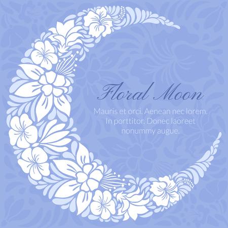 holiday celebrations: Floral design decorated crescent moon. Light vector illustration Illustration