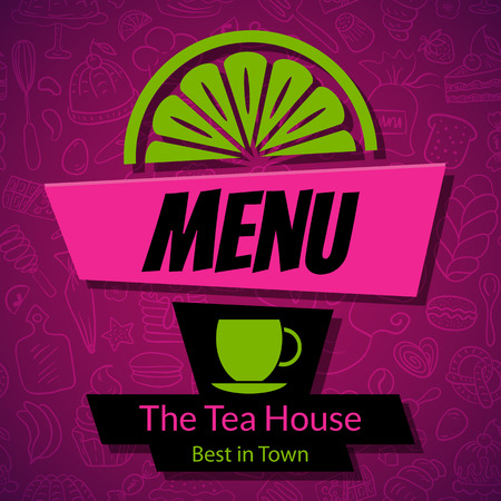 tea house: Modern Tea House or Cafe Menu Card Design template. Dark vector background with hand drawn pattern, cup and slice of lemon