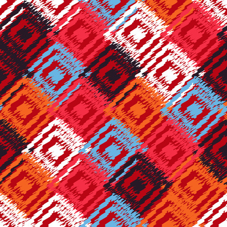 Ikat fabric seamless background. Vector tribal pattern