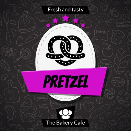 甘い食べ物: プレッツェル、パン屋さんカード テンプレートです。ベクトルの背景のデザイン。甘い食べ物