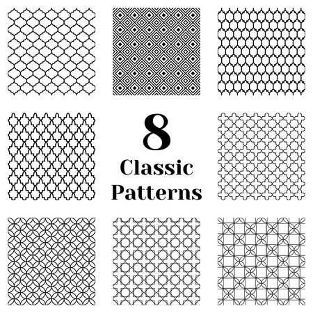 Classic seamless patterns with ready swatches. Endless texture for wallpaper, pattern fills, web page background. Vector repeating tiles